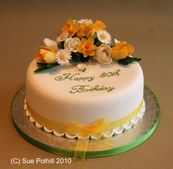 Sugar Flowers On Birthday Cake From Sue Polhill Cakes Of Cambridgeshire